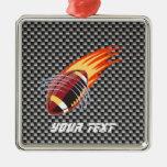 Carbon Fiber look Flaming Football Ornament