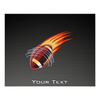 Carbon Fiber look Flaming Football Poster