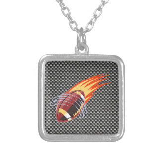Carbon Fiber look Flaming Football Square Pendant Necklace