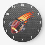 Carbon Fiber look Flaming Football Wallclock