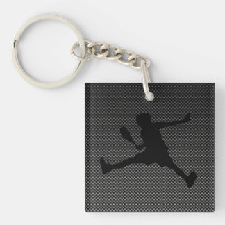 Carbon Fiber look Tennis Square Acrylic Keychains