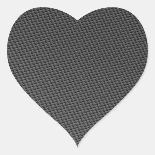 Carbon Fiber Material Heart Sticker