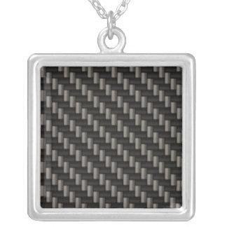 Carbon Fiber Material Square Pendant Necklace