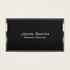 Carbon Fiber Mortgage Agent Business Card at Zazzle