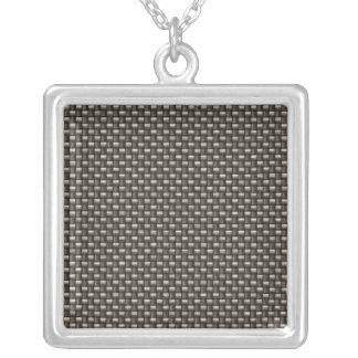Carbon Fiber Pattern (Faux) Square Pendant Necklace