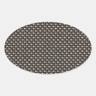 Carbon Fiber Pattern (Faux) Oval Sticker