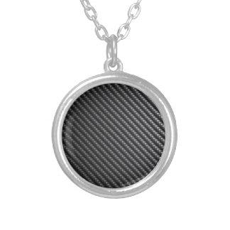 Carbon Fiber Pattern Round Pendant Necklace