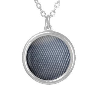 Carbon Fiber Photo Textured Round Pendant Necklace
