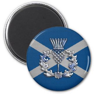 Carbon Fiber Print Scotland Flag 2 Inch Round Magnet