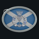 """Carbon Fiber Print Scotland Flag Belt Buckle<br><div class=""""desc"""">A silver chrome like Scottish thistle applique design on a racy blue carbon fiber style Scotland flag print background for a great custom gift. Embroidery designs are available in a selection of popular color options. Use the &quot;Ask this Designer&quot; link to contact us with your special design requests or for...</div>"""