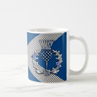 Carbon Fiber Print Scotland Flag Coffee Mug