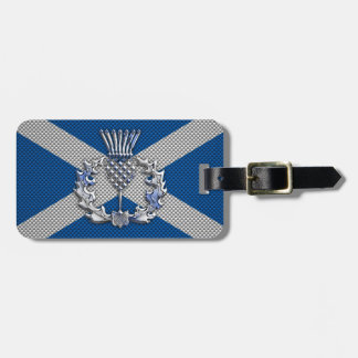 Carbon Fiber Print Scotland Flag Luggage Tag