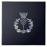 Carbon Fiber Print Silver Scottish Thistle Tile