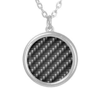 carbon fiber round pendant necklace