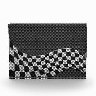 Carbon Fiber Style Checkered Racing Flag Wave Award