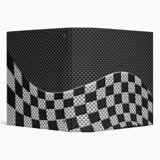 Carbon Fiber Style Checkered Racing Flag Wave Binder