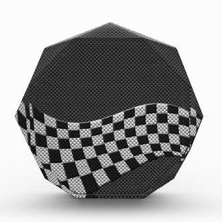 Carbon Fiber Style Racing Flag Checkers Wave Print Acrylic Award