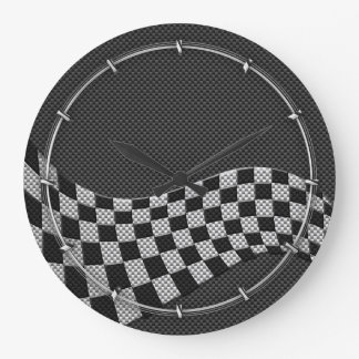 Carbon Fiber Style Racing Flag Checkers Wave Print Large Clock