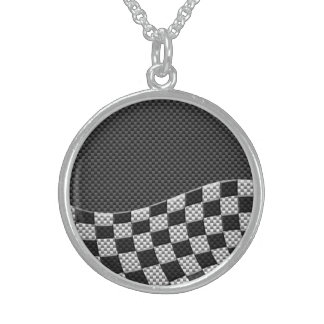 Carbon Fiber Style Racing Flag Checkers Wave Print Sterling Silver Necklace