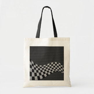 Carbon Fiber Style Racing Flag Checkers Wave Print Tote Bag
