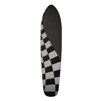 Carbon Fiber Style Racing Flag Wave Decor Skateboard
