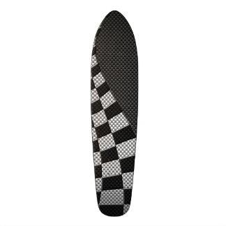 Carbon Fiber Style Racing Flag Wave Decor Skateboard
