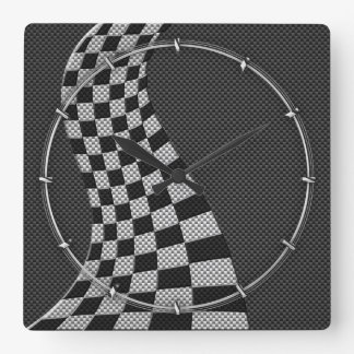 Carbon Fiber Style Racing Flag Wave Decor Square Wall Clock