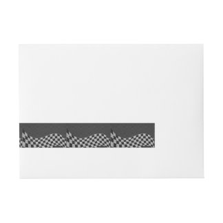 Carbon Fiber Style Racing Flag Wave Decor Wrap Around Address Label