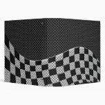 Carbon Fiber Style Racing Flag Wave Print Vinyl Binder