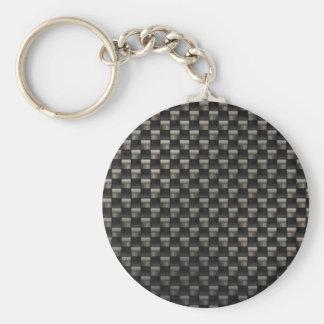 Carbon Fiber Texture Basic Round Button Keychain