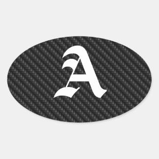 Carbon Fiber Texture Oval Stickers