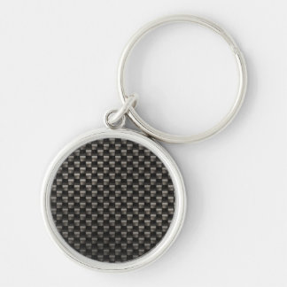 Carbon Fiber Texture Silver-Colored Round Keychain