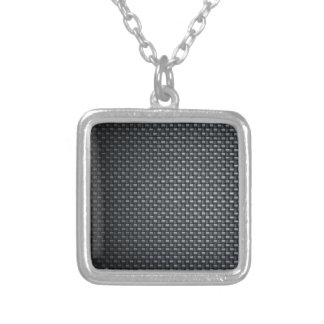 Carbon Fibre Look Silver Plated Necklace