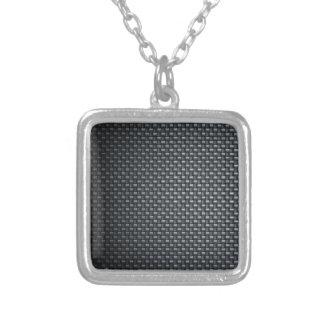 Carbon Fibre Look Square Pendant Necklace