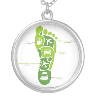 Carbon Footprint Round Pendant Necklace