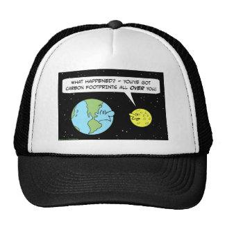carbon footprints earth moon hats