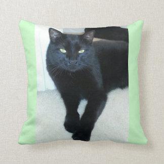 Carbón - gatito negro almohada