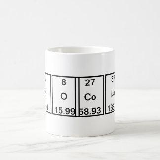 Carbon Hydrogen Oxygen Cobalt Lanthanum Tellurium Coffee Mug