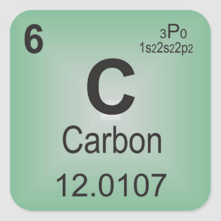 Carbon Individual Element of the Periodic Table Square Sticker