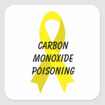 Carbon Monoxide Poisoning Yellow Ribbon by Janz Square Sticker