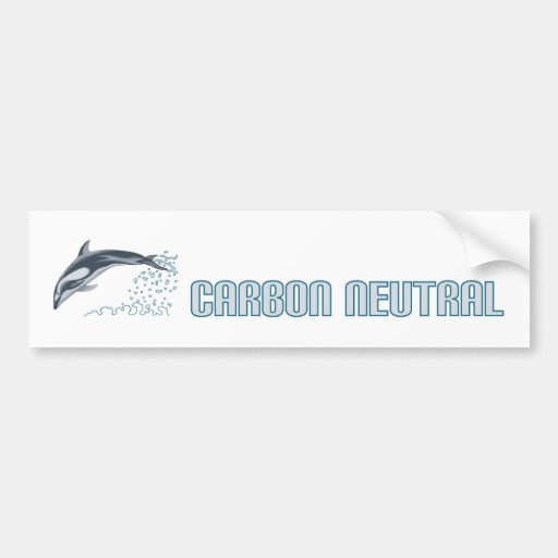 Carbon neutral conservation / dolphin jumping bumper sticker