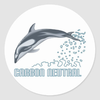 Carbon neutral conservation / dolphin jumping classic round sticker