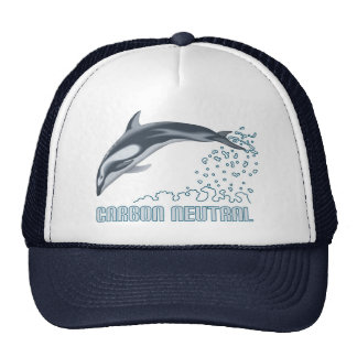 Carbon neutral conservation / dolphin jumping trucker hats