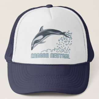 Carbon neutral conservation / dolphin jumping trucker hat