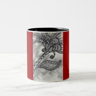 Carbon Space Flower 4 by Kewzoo Two-Tone Coffee Mug