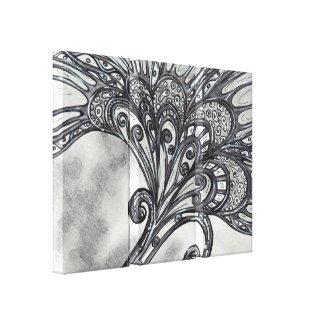 Carbon Space Flower 4 Triptych wrappedcanvas