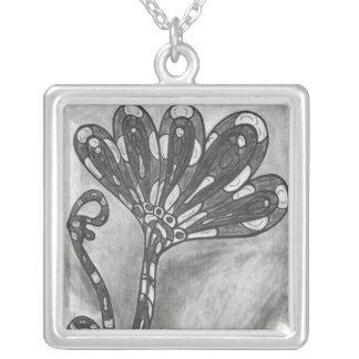 Carbon Space Flower necklace