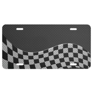 Carbon Style Racing Flag Wave Decor License Plate