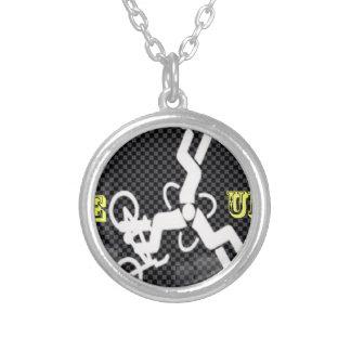 Carbon triad round pendant necklace