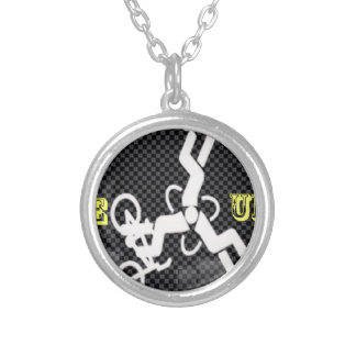 Carbon triad silver plated necklace